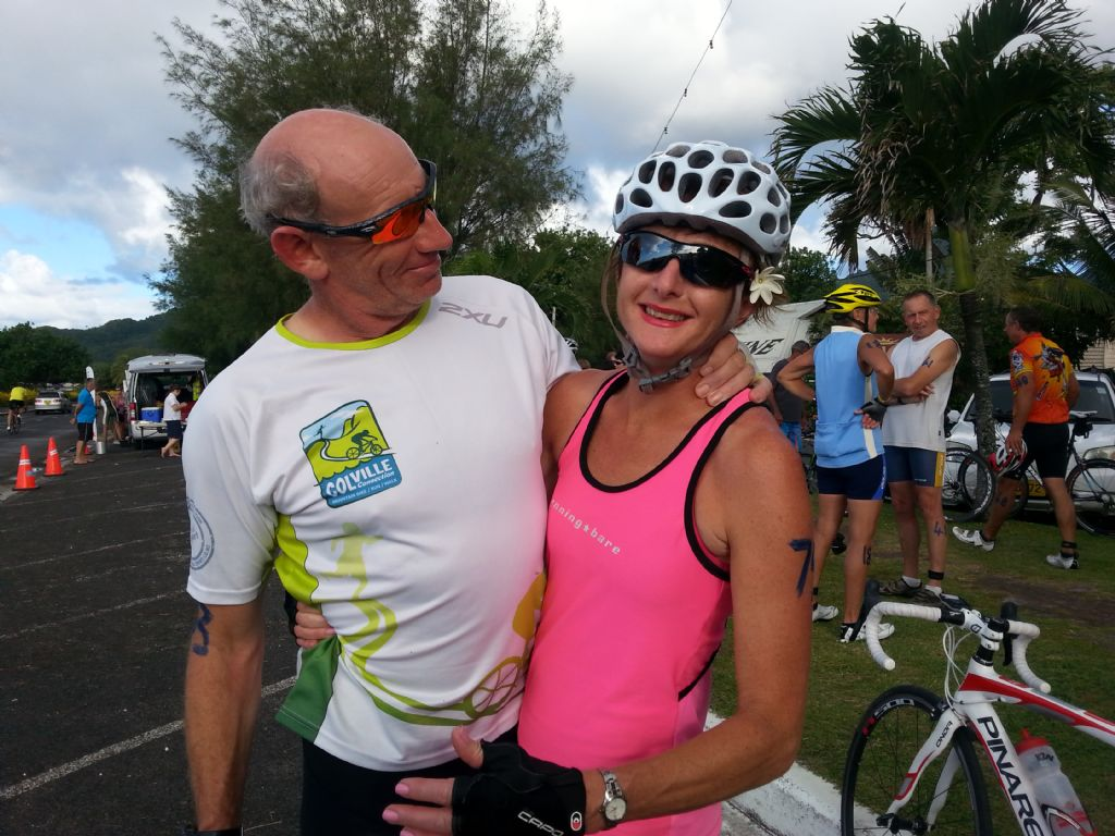 This is Joanne after beating me by 6 mins in the Tour de Raro race.( Comment by Peter H)