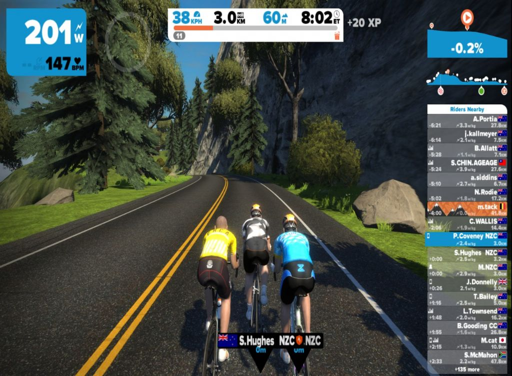 Stephen Hughes, PC and Mike Page climbing a hill in Zwift - Watopia