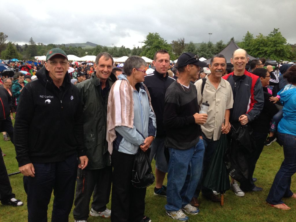 Prize giving NZC in the rain.
